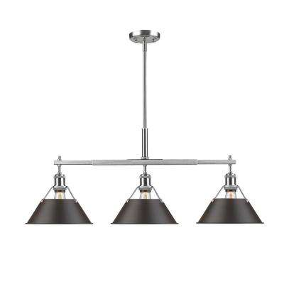 Orwell PW 3-Light Pewter Pendant with Rubbed Bronze Shade