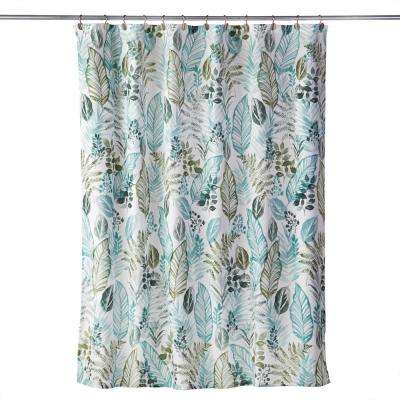Sprouted Palm 72 in. Shower Curtain in Sage