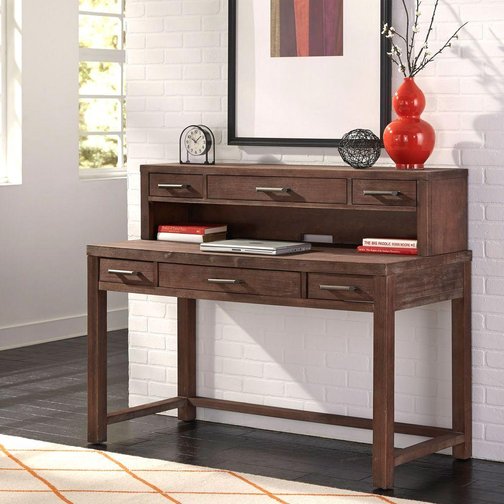 Home Styles Executive Desk with Hutch in Aged Barnside