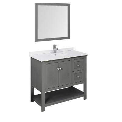 Manchester Regal 42 in. W Bathroom Vanity in Gray Wood with Quartz Stone Vanity Top in White with White Basin and Mirror
