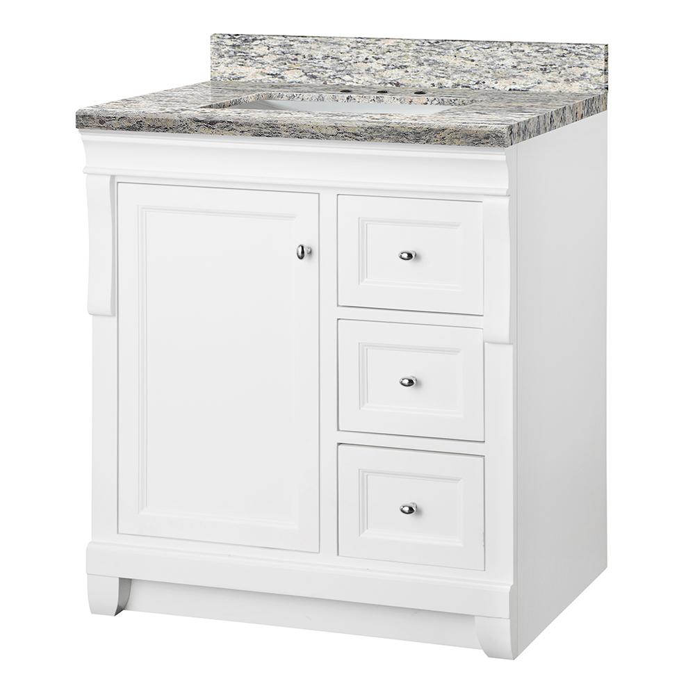 Home Decorators Collection Naples 31 in. W x 22 in. D Bath Vanity in White with Granite Vanity Top in Santa Cecilia with White Sink was $849.0 now $594.3 (30.0% off)