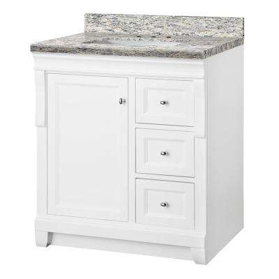 Naples 31 in. W x 22 in. D Bath Vanity in White with Granite Vanity Top in Santa Cecilia with White Sink