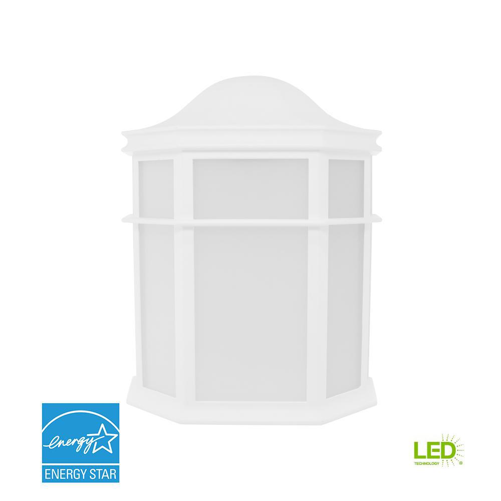 Decorative 1-Light White Outdoor Integrated LED Wall Mount Sconce