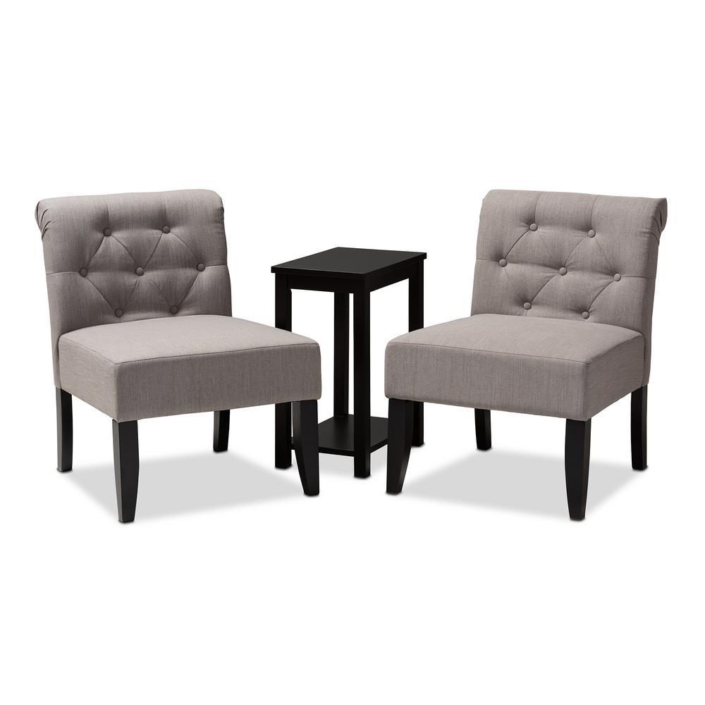 Accent Chairs Sold In Pairs.Baxton Studio Veda Black And Gray Fabric Accent Chair And Table Set