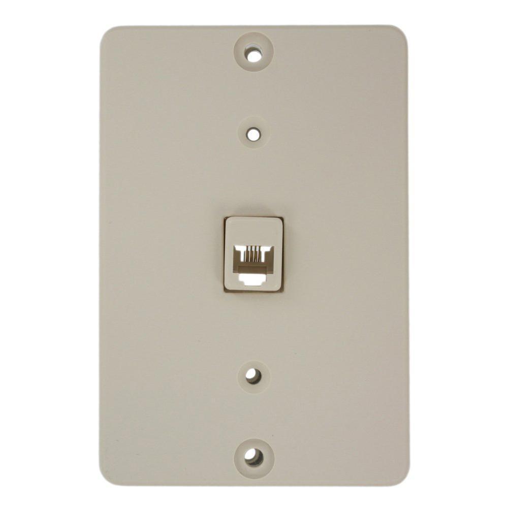 leviton telephone wall jack light almond 40253 t the. Black Bedroom Furniture Sets. Home Design Ideas