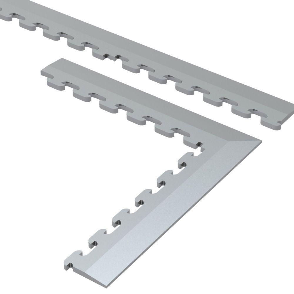 9.5 in. x 18.5 in. Gray Multi-Purpose Dove Commercial PVC Garage Flooring Tile Trim Kit (20 sq. ft.)