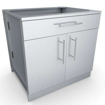 Designer Series 304 Stainless Steel 36 in. x 34.5 in. x 28.25 in. Double Door Base Cabinet with Shelf and Top Drawer