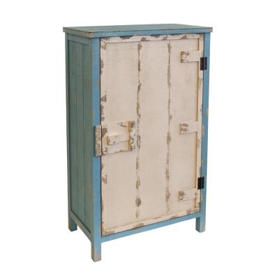 Distressed Antique White and Blue 1-Door Pantry with 3-Shelves