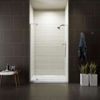 Revel 48 in. x 70 in. Frameless Pivot Shower Door in Bright Polished Silver with Handle