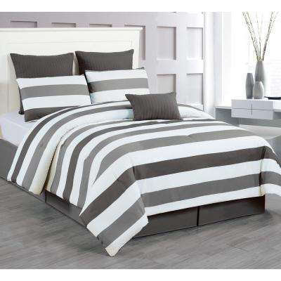 Darby Charcoal-Grey 7-Piece Queen Comforter Set