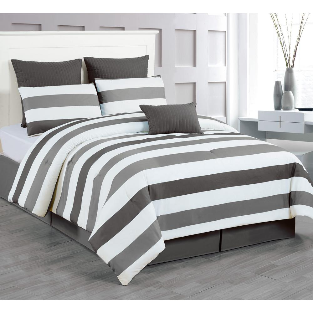 Darby Charcoal-Grey 7-Piece King Comforter Set