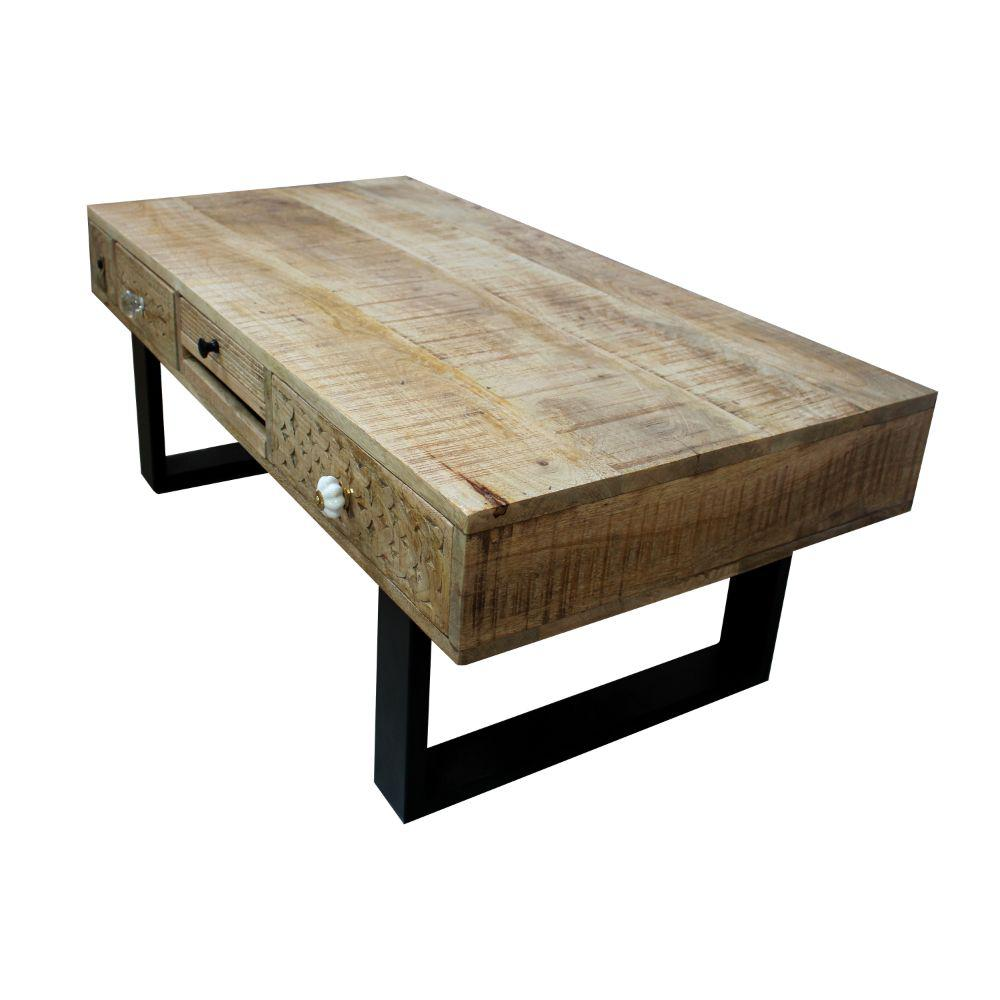 17.75 in. H Washed Brown and Black 5-Drawer Wooden Rectangular Coffee Table with Sled Metal Legs