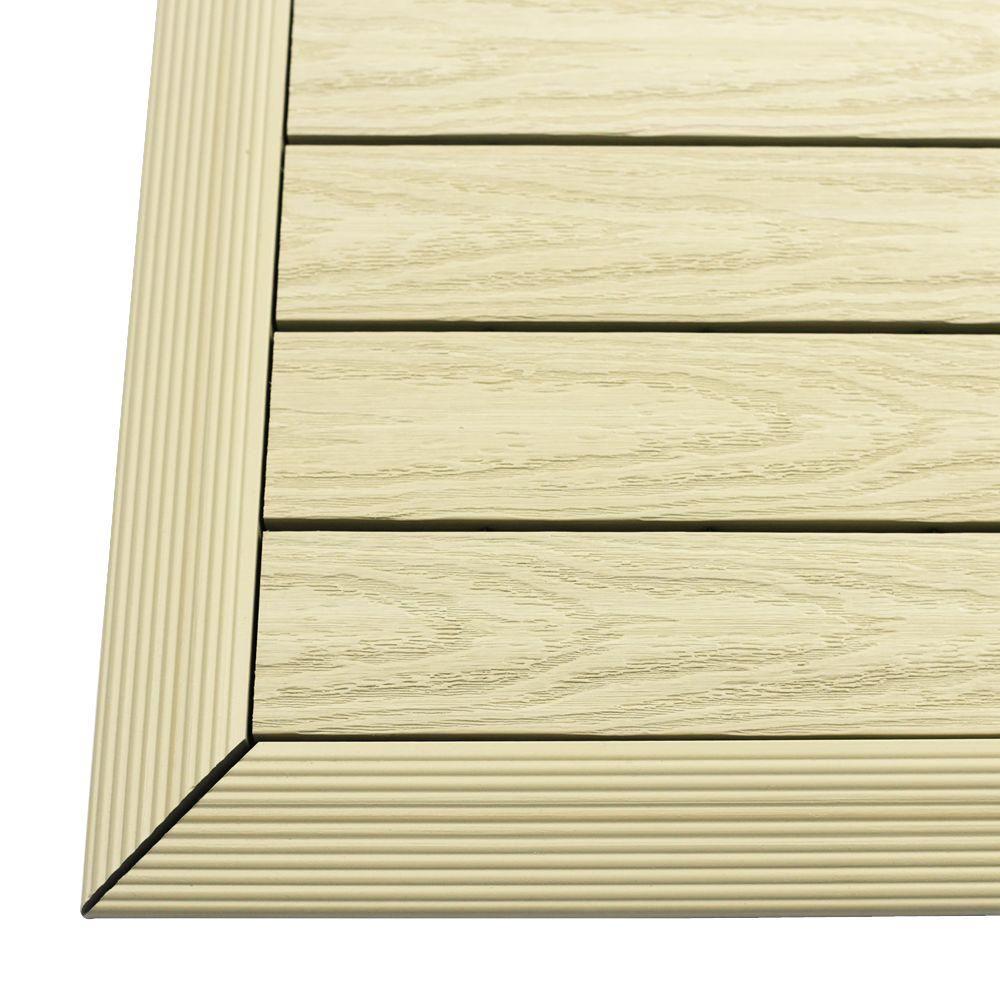 1/6 ft. x 1 ft. Quick Deck Composite Deck Tile Outside Corner Trim in Sahara Sand (2-Pieces/box)