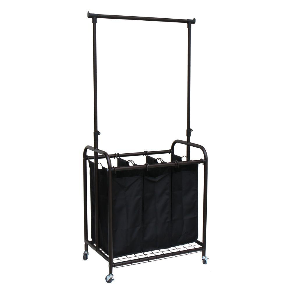 3-Bag Bronze Rolling Laundry Sorter with Hanging Bar