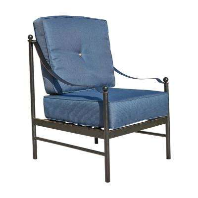 Metal Outdoor Lounge Chair with Blue Cushions