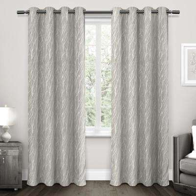 Forest Hill 52 in. W x 108 in. L Woven Blackout Grommet Top Curtain Panel in Dove Grey (2 Panels)