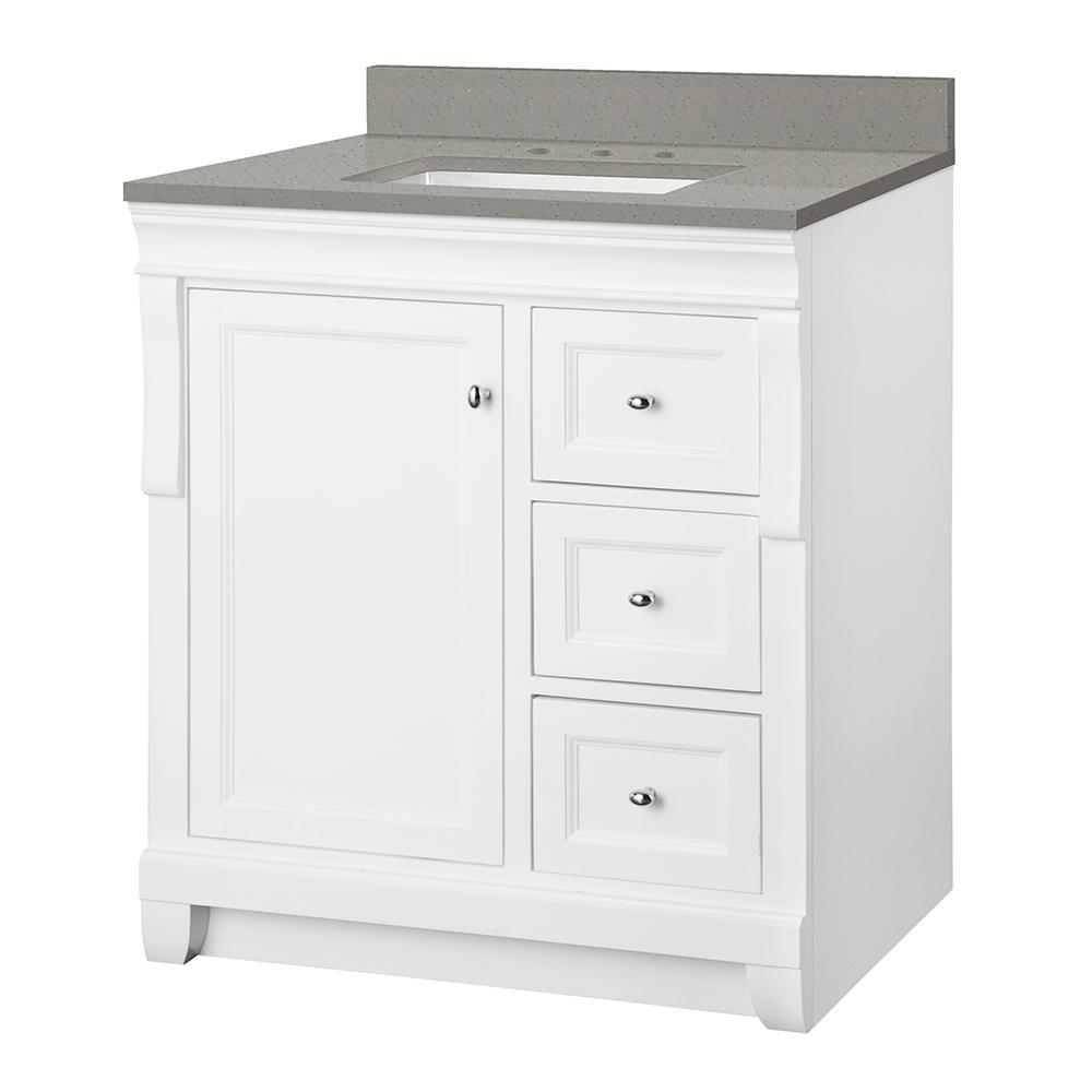 Foremost Naples 31 in. W x 22 in. D Vanity Cabinet in White with Engineered Quartz Vanity Top in Sterling Grey with White Basin was $749.0 now $524.3 (30.0% off)