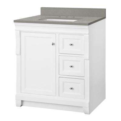 Naples 31 in. W x 22 in. D Vanity Cabinet in White with Engineered Quartz Vanity Top in Sterling Grey with White Basin