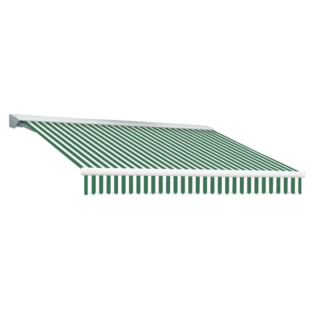 Beauty-Mark 20 ft. DESTIN EX Model Manual Retractable with Hood Awning (120 in. Projection) in Forest Green and White Stripe