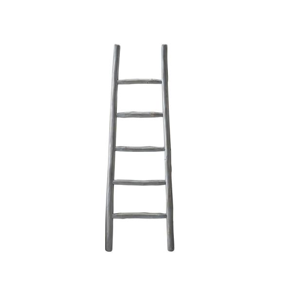 65 in. August Gray Wood 5-shelf Ladder Bookcase with Open Back