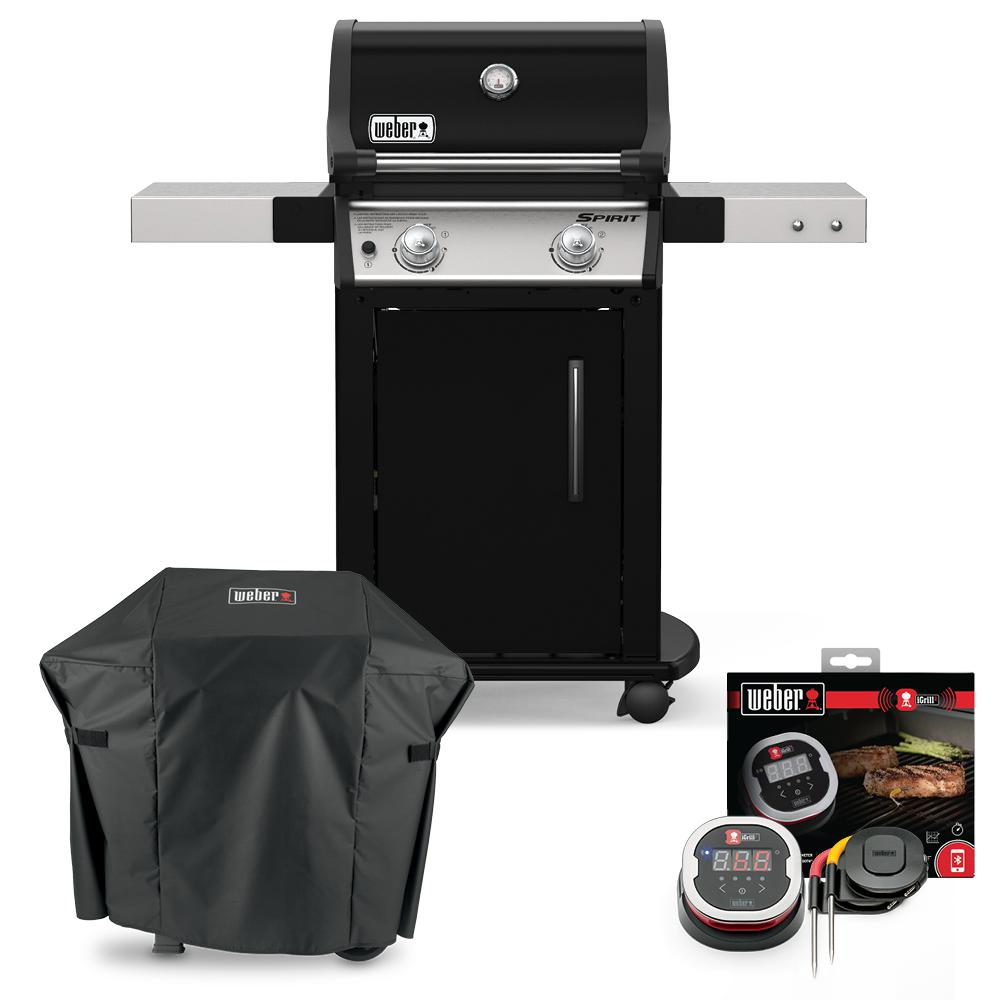 Weber Spirit E-215 Liquid Propane Gas Grill Combo with Cover and iGrill 2