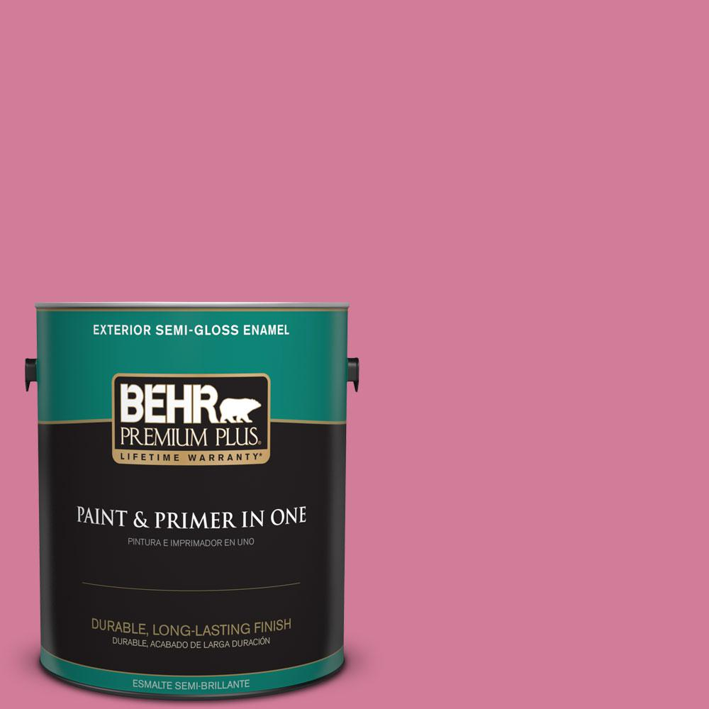 1-gal. #P130-5 Little Bow Pink Semi-Gloss Enamel Exterior Paint