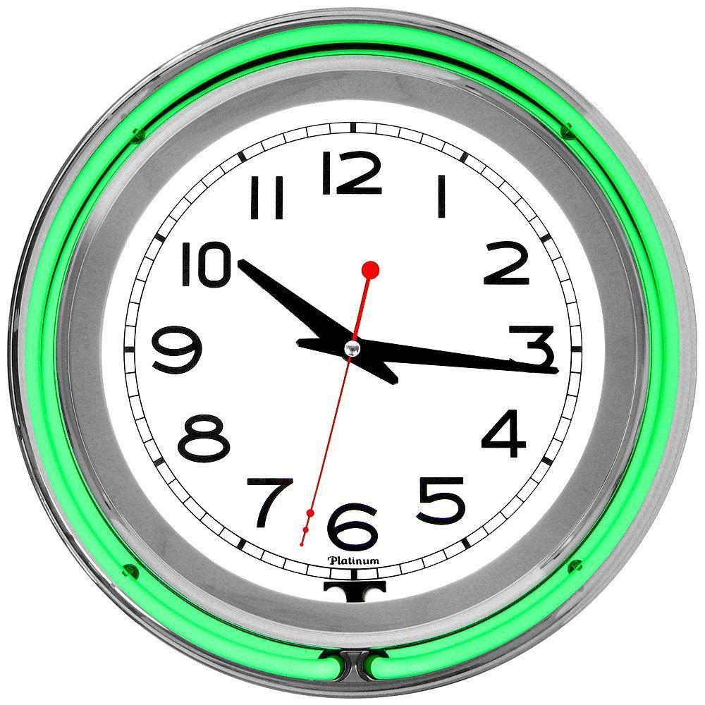 Trademark 3 in. x 14 in. Green Double Ring Neon Clock