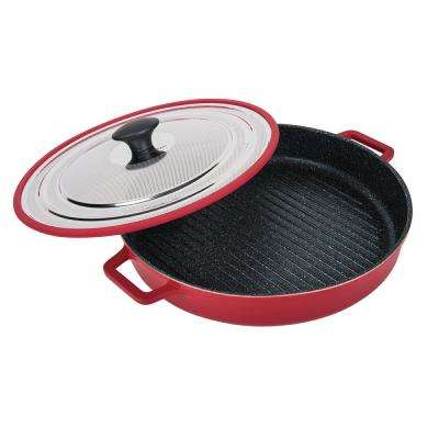 12 in. Red Stovetop Oven Grill Pan with Heat-in Steam-Out Lid