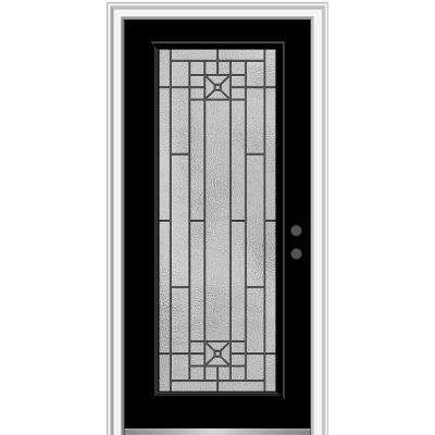 36 in. x 80 in. Courtyard Left-Hand Full Lite Decorative Painted Fiberglass Smooth Prehung Front Door, 6-9/16 in. Frame