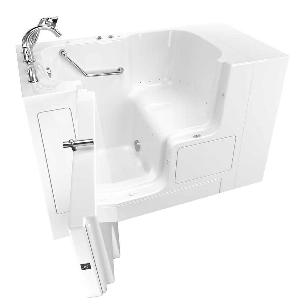 American Standard Gelcoat Value Series 52 in. x 30 in. Left Hand Walk-In Air Bathtub with Outward Opening Door in White