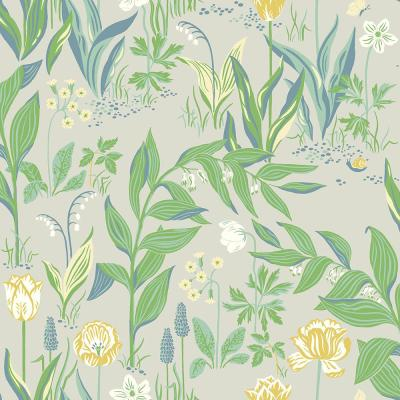 Spring Garden Green Botanical Wallpaper Sample