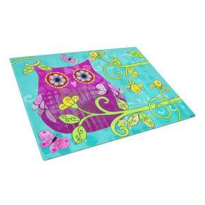 Sittin in the Flowers Owl Tempered Glass Large Heat Resistant Cutting Board