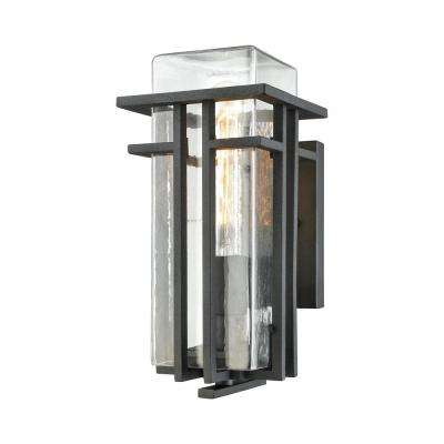 Croftwell Small 1-Light Textured Matte Black with Clear Glass Outdoor Wall Mount Sconce