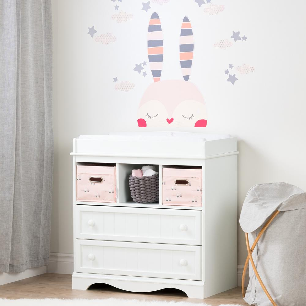 Savannah 2-Drawer Pure White and Pink Changing Table