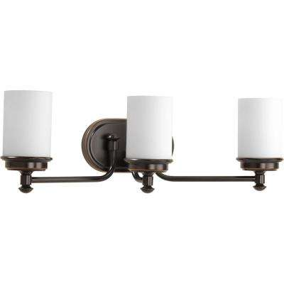 Glide Collection 3-Light Rubbed Bronze Bathroom Vanity Light with Glass Shades