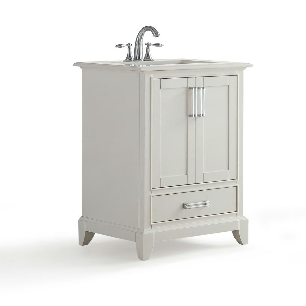 Simpli Home Elise 24 in. W x 22 in. D Bath Vanity in Soft White with Quartz Marble Vanity Top in Bombay White with White Basin was $687.0 now $379.0 (45.0% off)