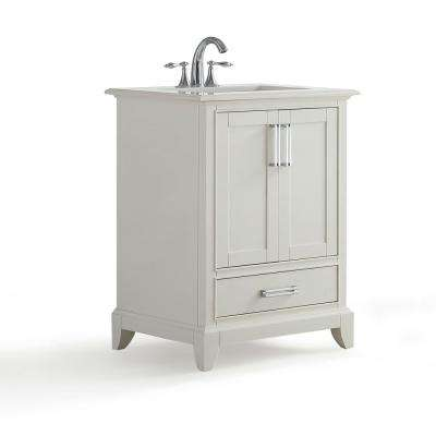 Elise 24 in. W x 22 in. D Bath Vanity in Soft White with Quartz Marble Vanity Top in Bombay White with White Basin