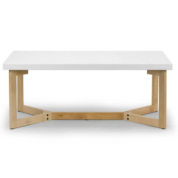 Aniya 44 in. White/Natural Large Rectangle Wood Coffee Table with Beech Wood Legs