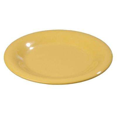 5.65 in. Diameter Melamine Wide Rim Bread and Butter Plate in Honey Yellow (Case of 48)