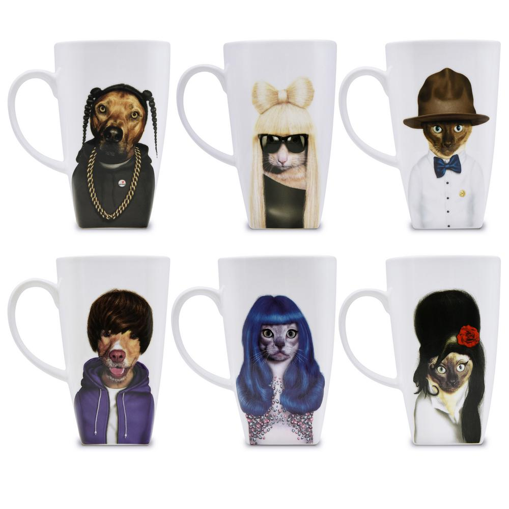 20 oz.  Music  Pets Rock Collectible Fine Bone China Mugs (Set of 6), Music-6 Set of 6 Pets Rock fine bone china 20 oz. mugs. These Pets Rock fine bone china coffee mugs give you the option to see the adorable pets you love dressed as celebrities on your mug. Available with a variety of furry creatures to fit any animal lovers desires. What better way to start your morning than with a cup of Joe and your adorable Pets Rock buddy. The porcelain is milky white in color, beautiful in shape and comfortable in your hand. Color: Music-6.