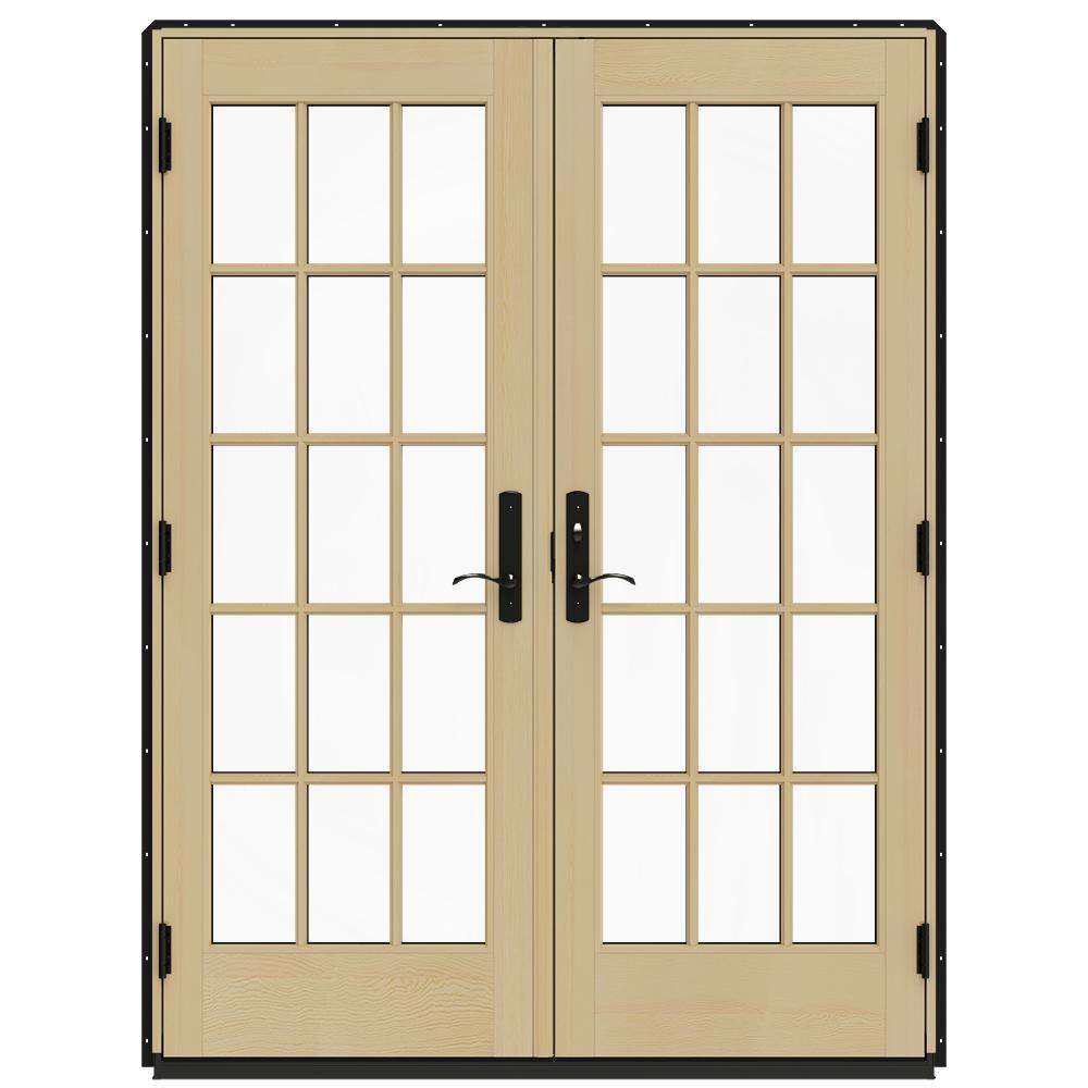 Jeld wen 60 in x 80 in w 4500 black prehung left hand for Prehung patio doors