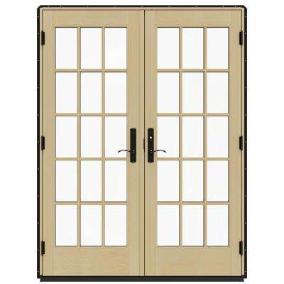 60 in. x 80 in. W-4500 Contemporary Black Clad Wood Left-Hand 15 Lite French Patio Door w/Lacquered Interior