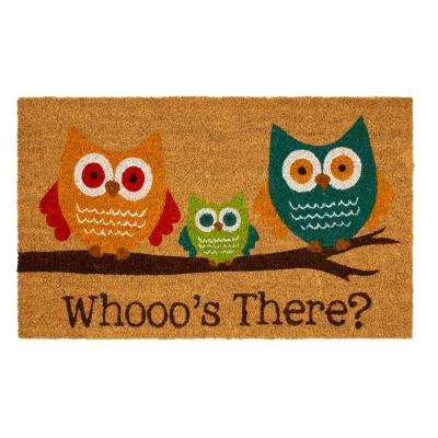Bright Eyed Owls Natural 18 in. x 30 in. Coir Mat