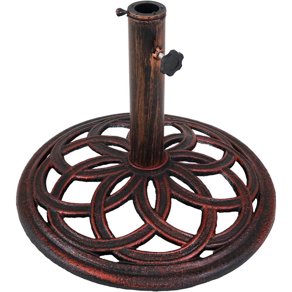 2892404f45b2 Sunnydaze Decor 17 in. Cast Iron Patio Umbrella Base with Celtic Knot  Design in Bronze