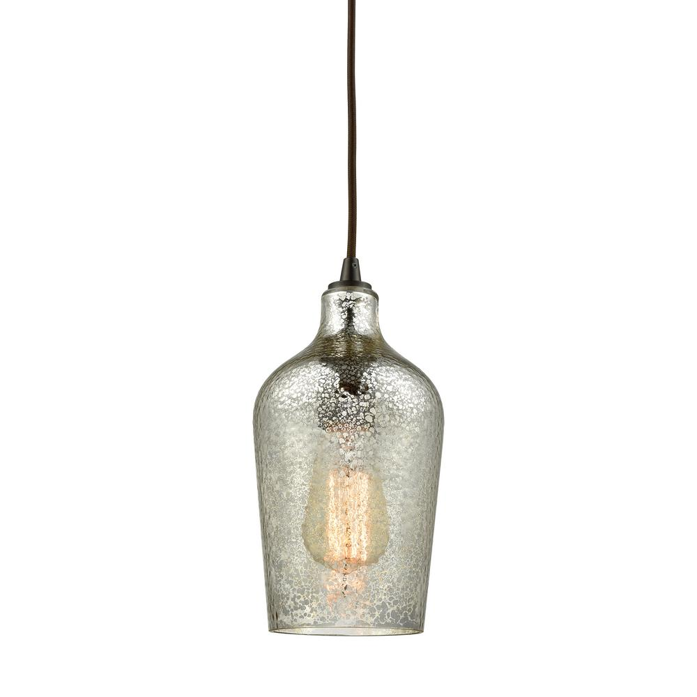 Titan Lighting Hammered Glass 1-Light Oil Rubbed Bronze with Hammered Mercury  Glass Pendant
