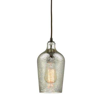 Hammered Glass 1-Light Oil Rubbed Bronze with Hammered Mercury Glass Pendant