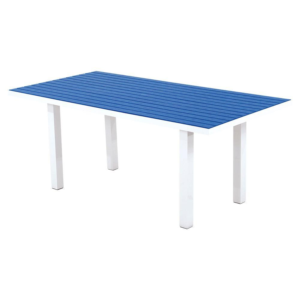 Euro Satin White/Pacific Blue 36 in. x 72 in. Patio Dining