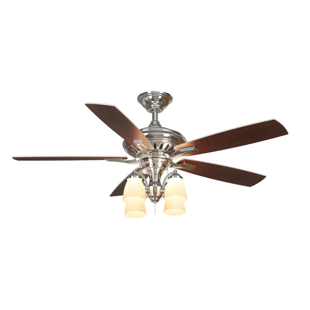 Bristol Lane 52 in. Indoor Polished Nickel Ceiling Fan with Light