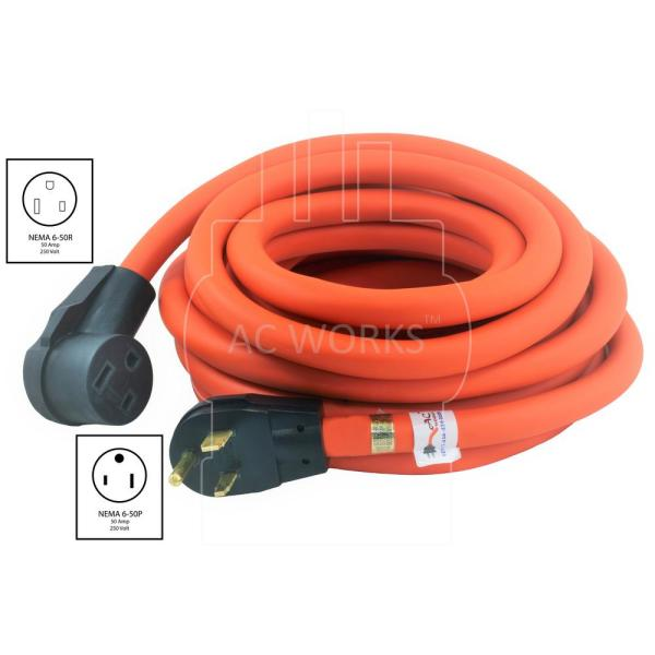 23FT Power Extension Cord Welder Plug 50A 3-Prong Heavy Duty Cable 6-50P//6-50R