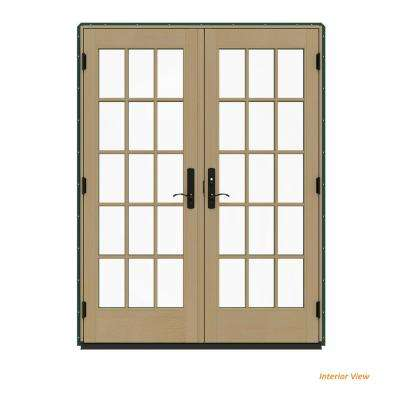 60 in. x 80 in. W-4500 Contemporary Green Clad Wood Left-Hand 15 Lite French Patio Door w/Unfinished Interior
